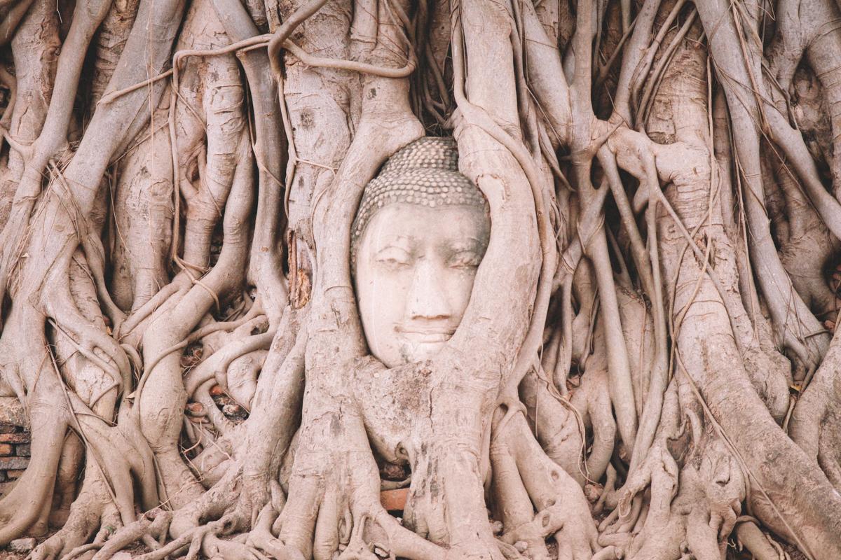 Negative Gedanken machen stoppen - wie Buddha in Ayutthaya in Thailand